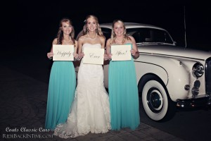 "Allison and bridesmaids with 1959 Jaguar ""Caroline"""